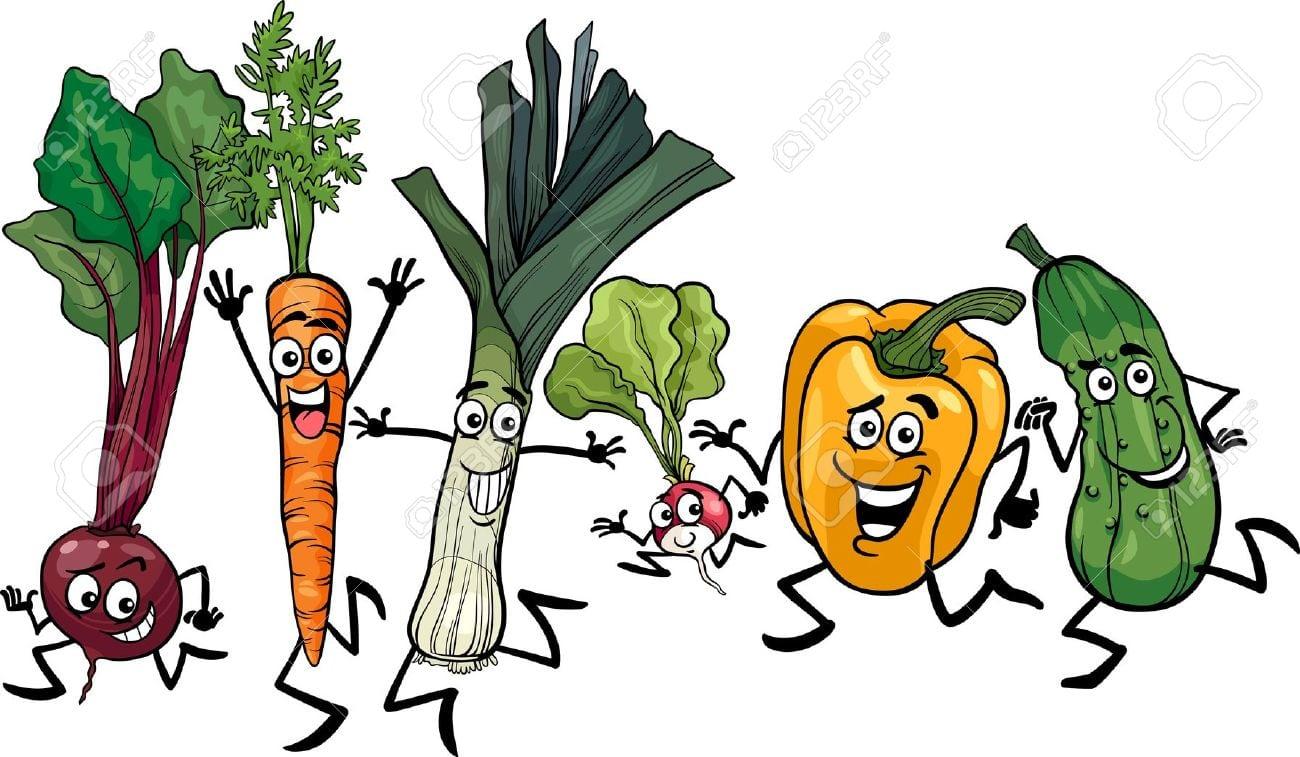 Ilustração Dos Desenhos Animados Do Corredor Feliz Legumes