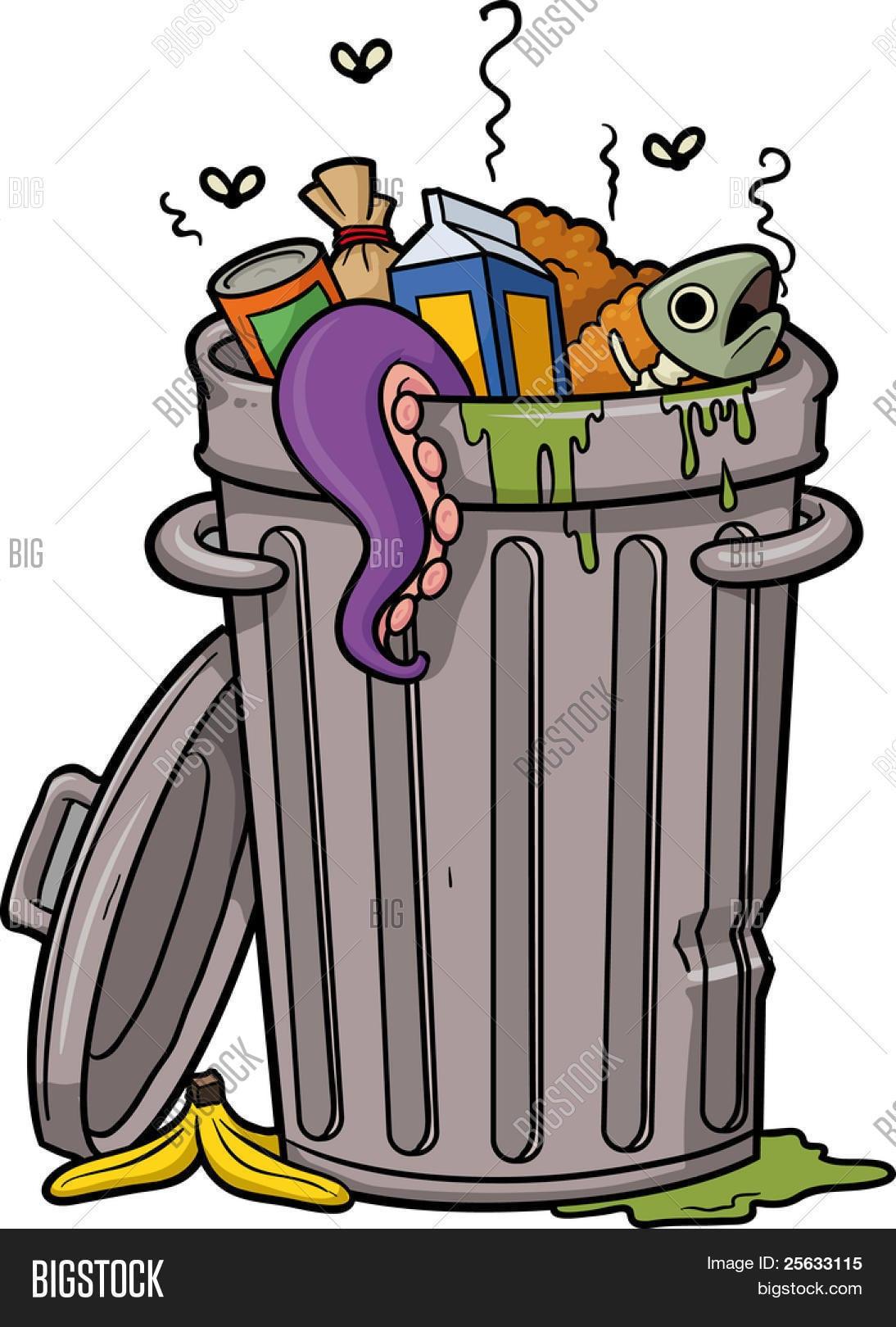 Ilustração Em Vetor De Um Lixo De Desenho Animado Pode  Bancos De