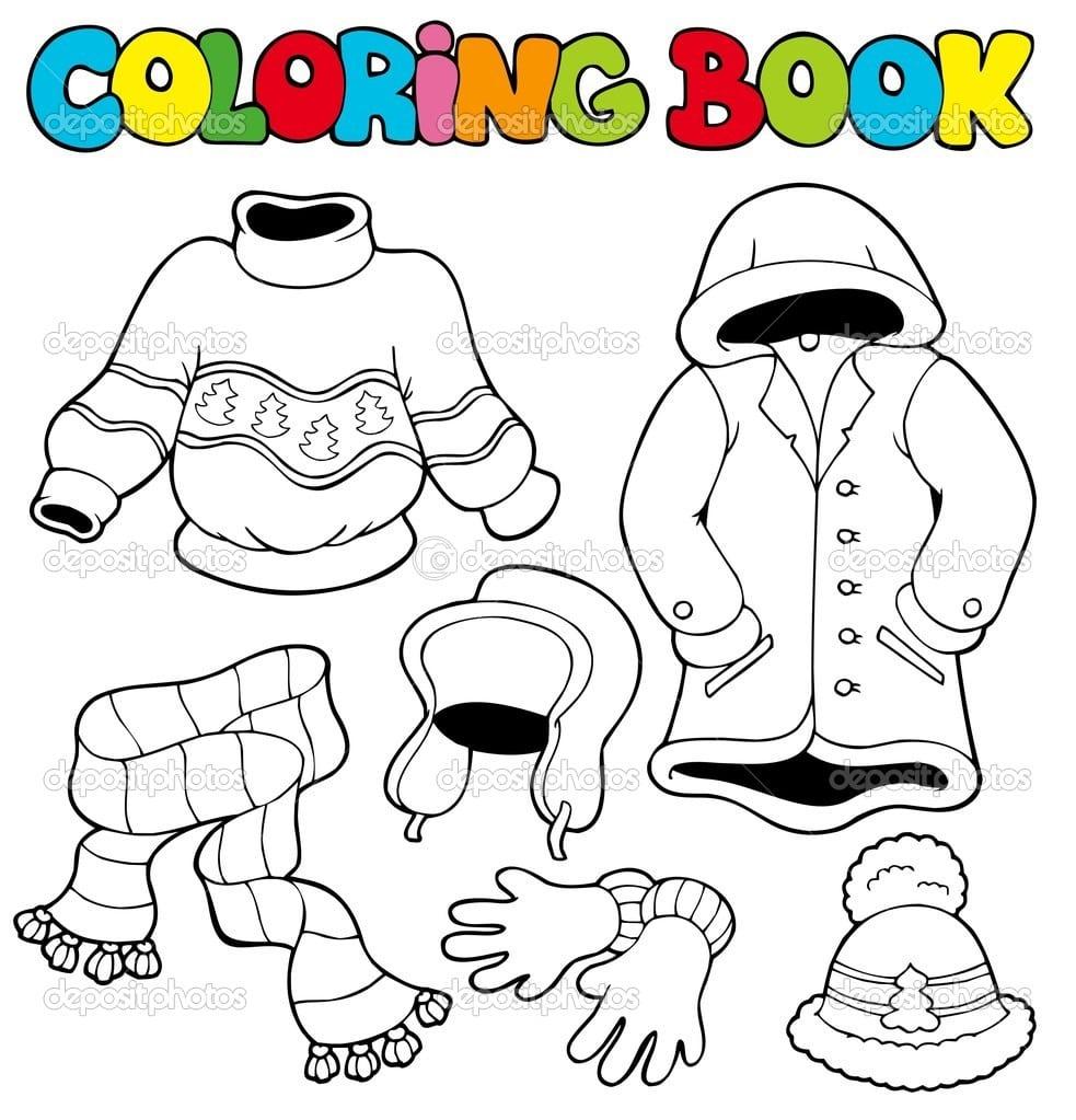 Livro De Colorir Com Roupas De Inverno — Vetores De Stock