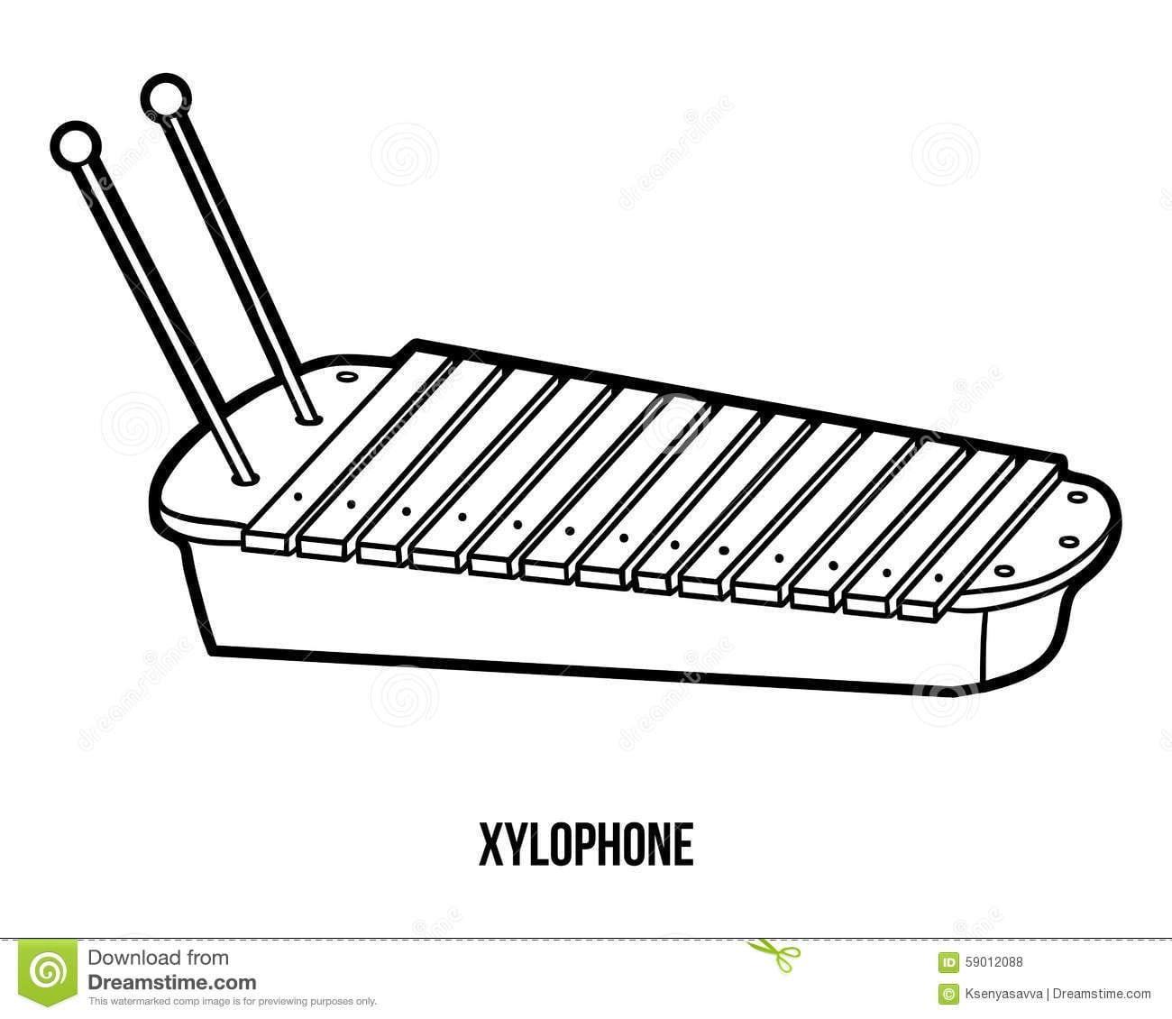Livro Para Colorir  Instrumentos Musicais (xilofone) Ilustração Do