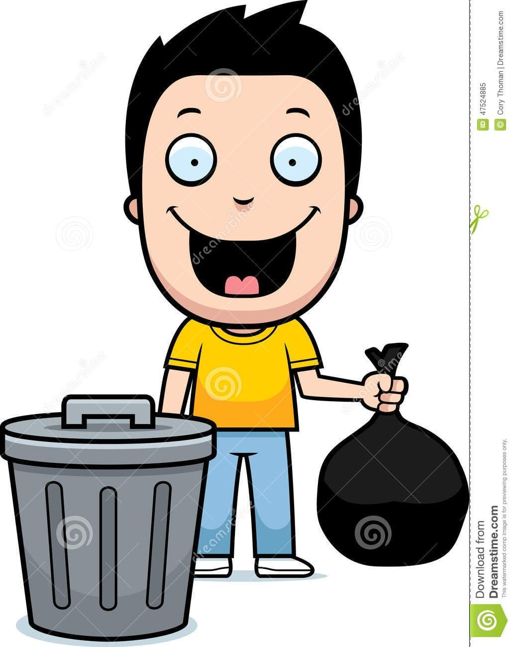 Lixo Do Menino Dos Desenhos Animados Ilustração Do Vetor