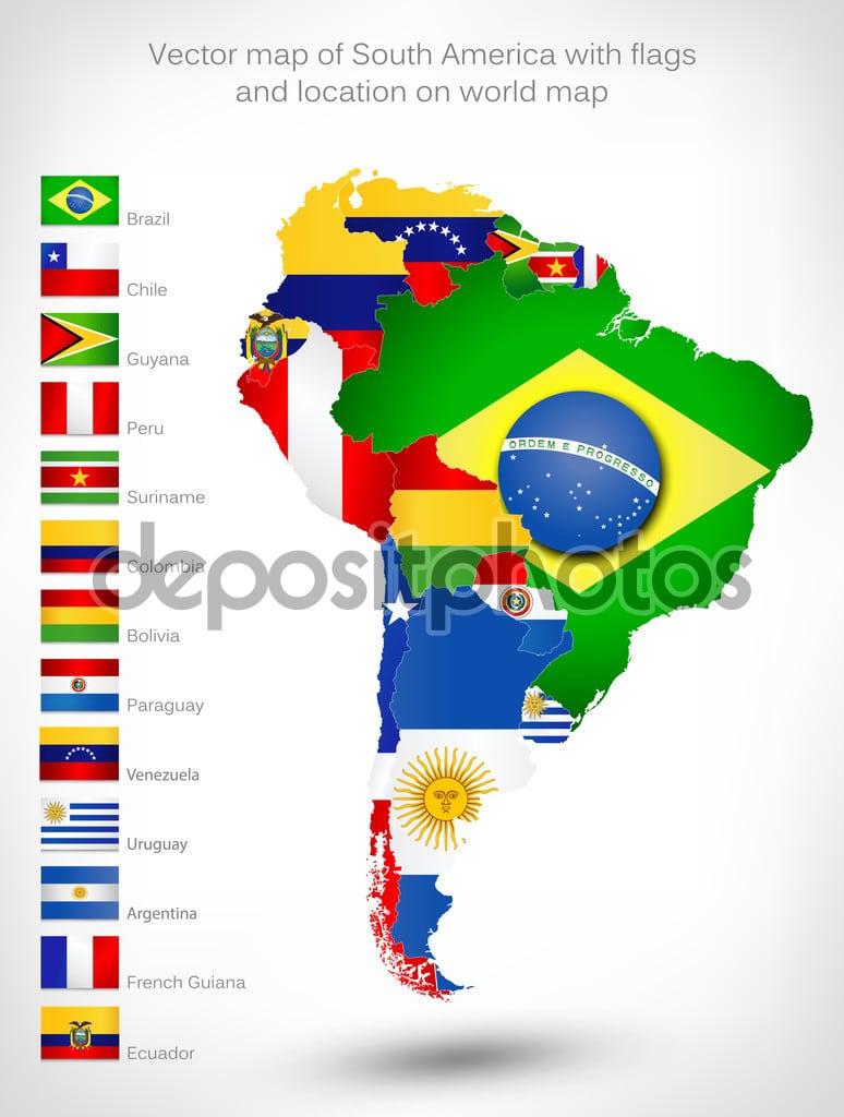 Mapa Da América Do Sul Com Bandeiras — Vetores De Stock © Livenart