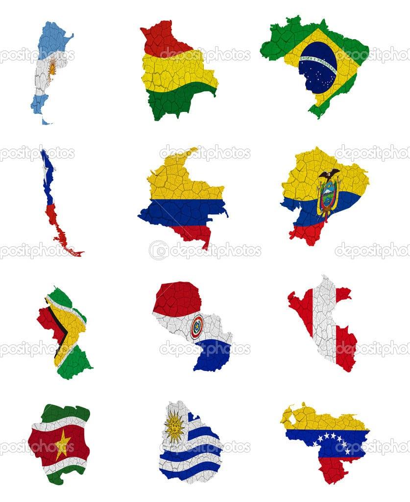 Mapas De Bandeira De Países Da América Do Sul — Fotografias De
