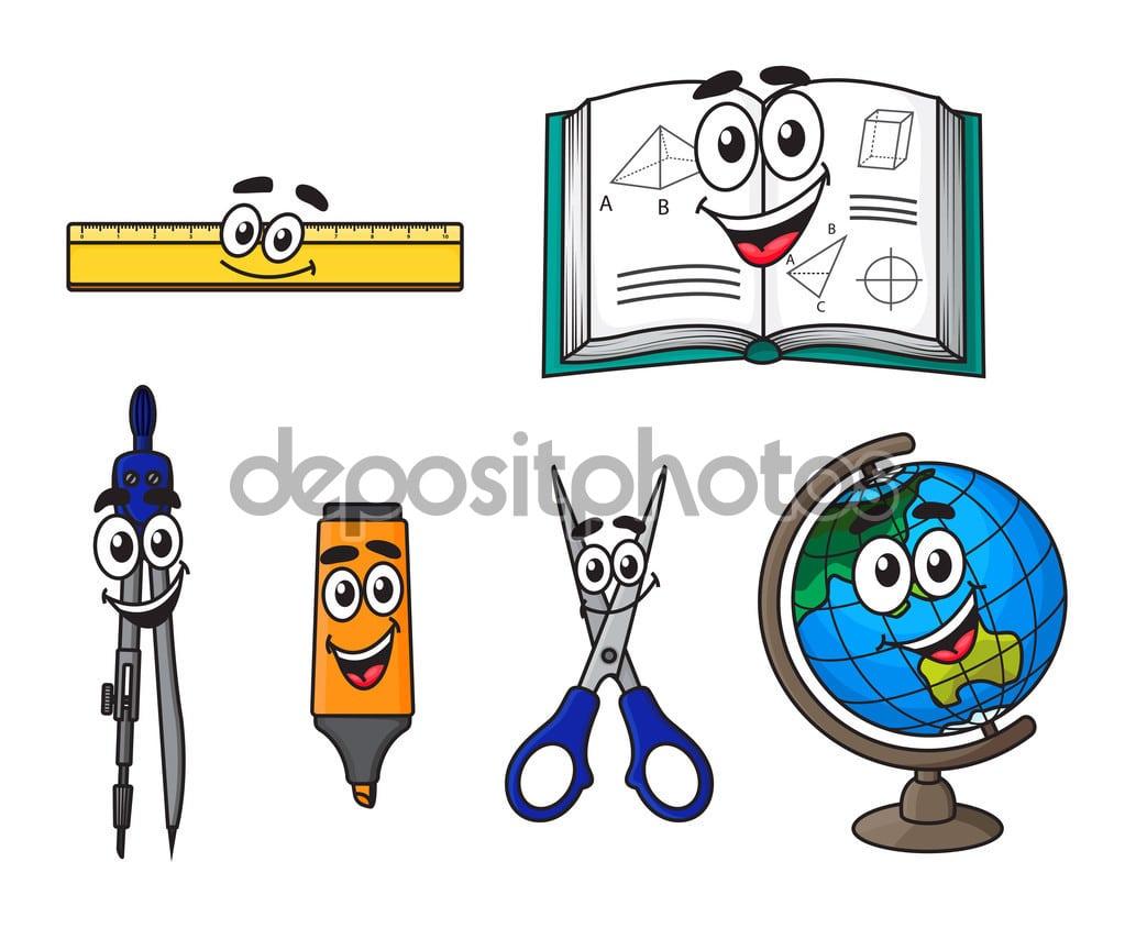Material Escolar De Desenho Animado Feliz — Vetor De Stock