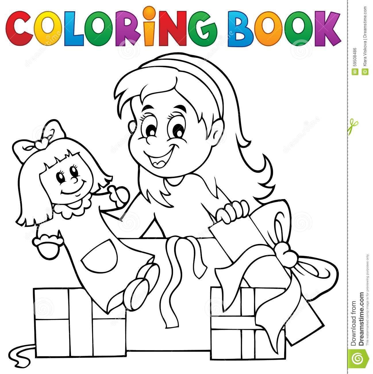 Menina Do Livro Para Colorir Com Boneca E Presentes Ilustração Do