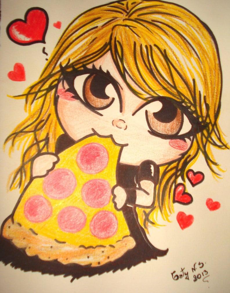 Meu Amor Por Pizza Traduzido Em Desenho By Tatyns On Deviantart