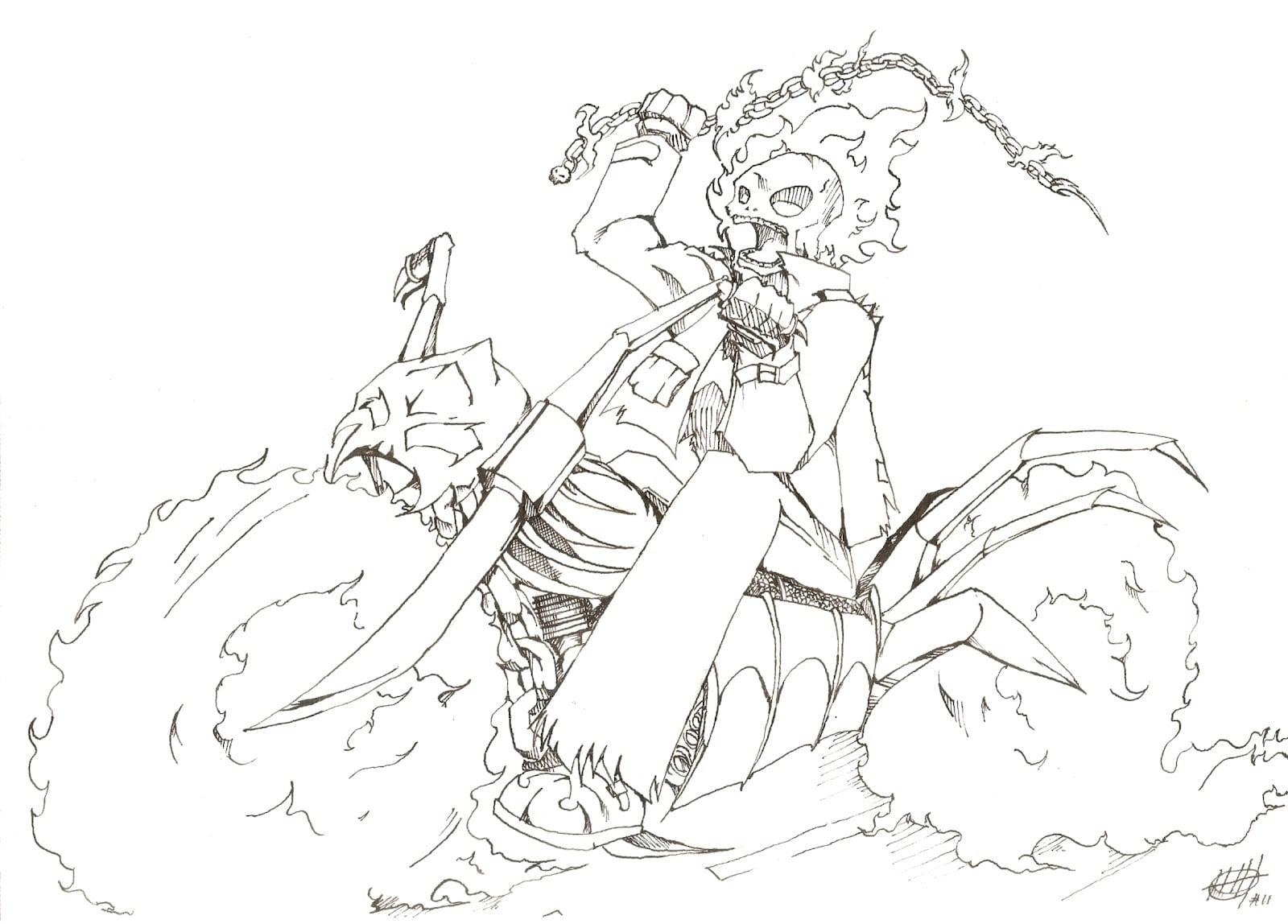 Motoqueiro Fantasma Para Colorir Desenhos Sketch Coloring Page