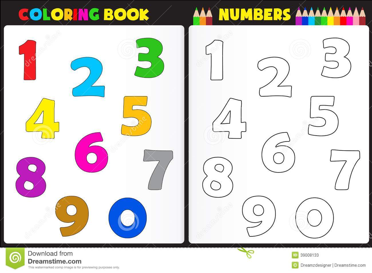 Números De Livro Para Colorir Ilustração Do Vetor