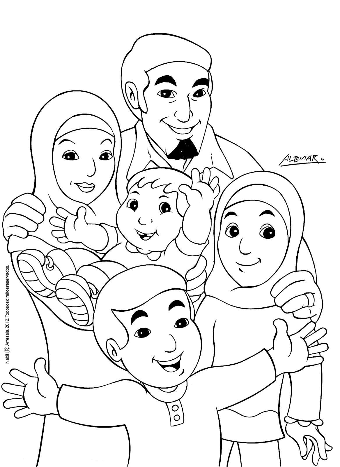 Nabil E Sua Turma  Nabil E Sua Família (para Colorir)