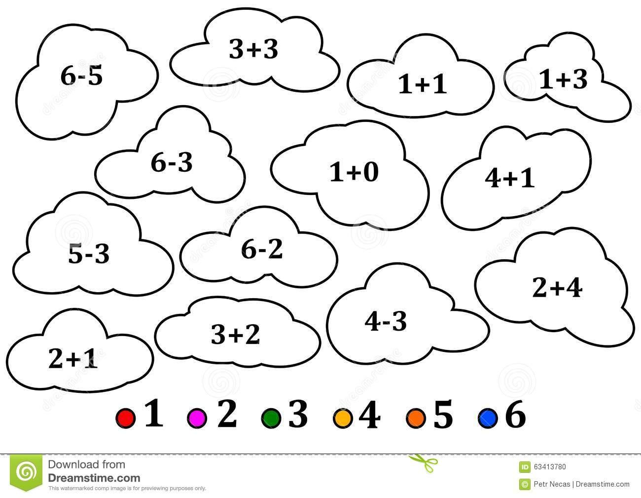 Nuvens Coloridas Como A Contagem Para Crianças