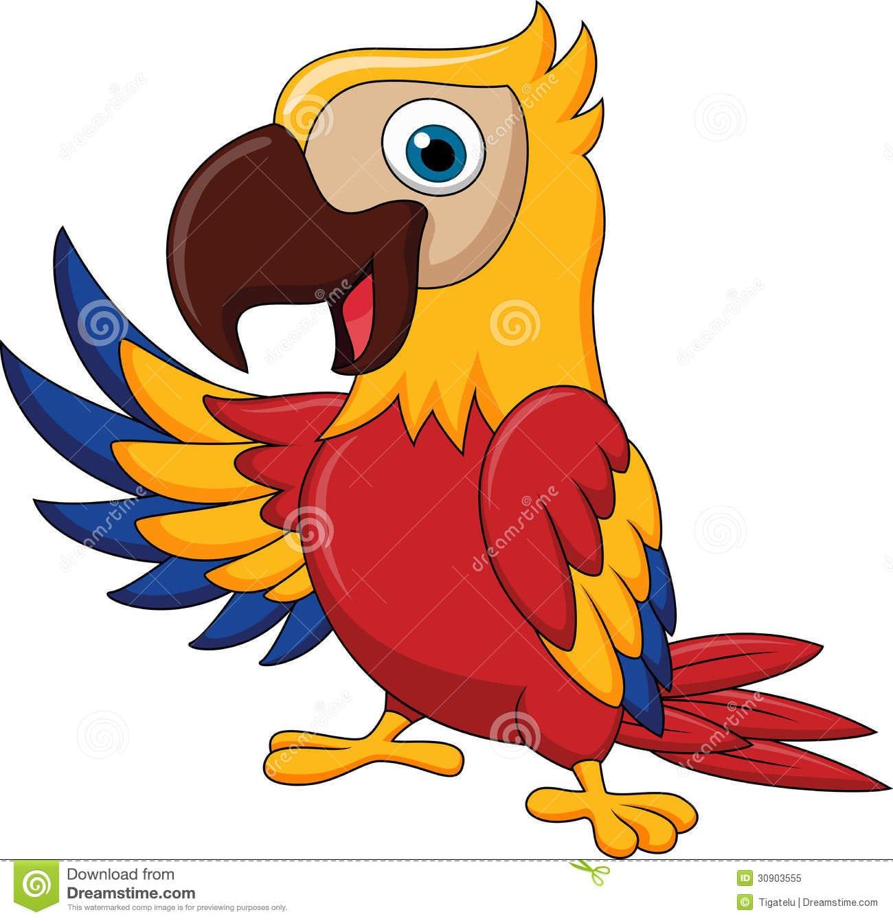 Ondulação Dos Desenhos Animados Do Pássaro Da Arara Foto De Stock