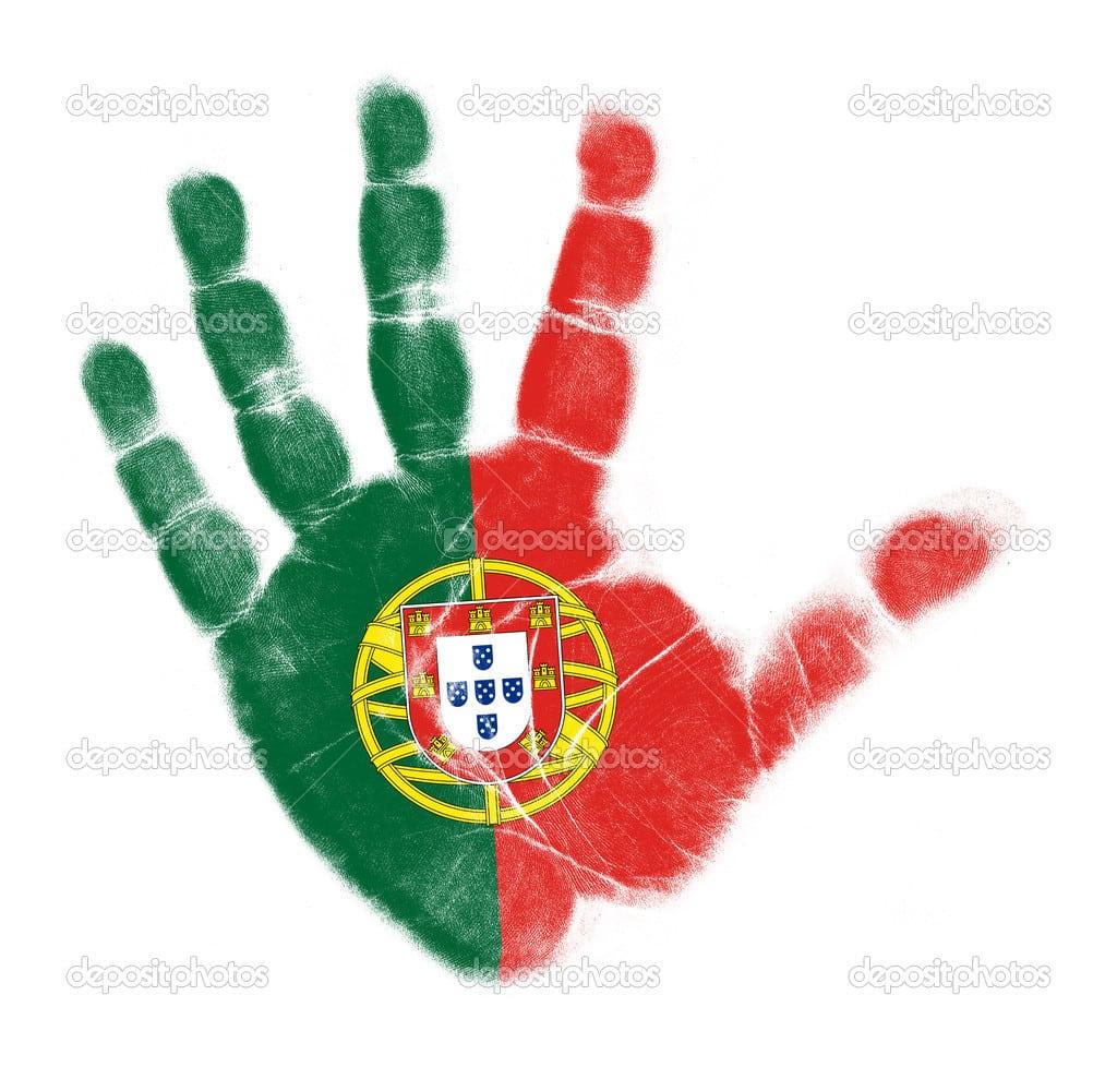 Palma De Bandeira De Portugal Imprimir Isolado No Fundo Branco