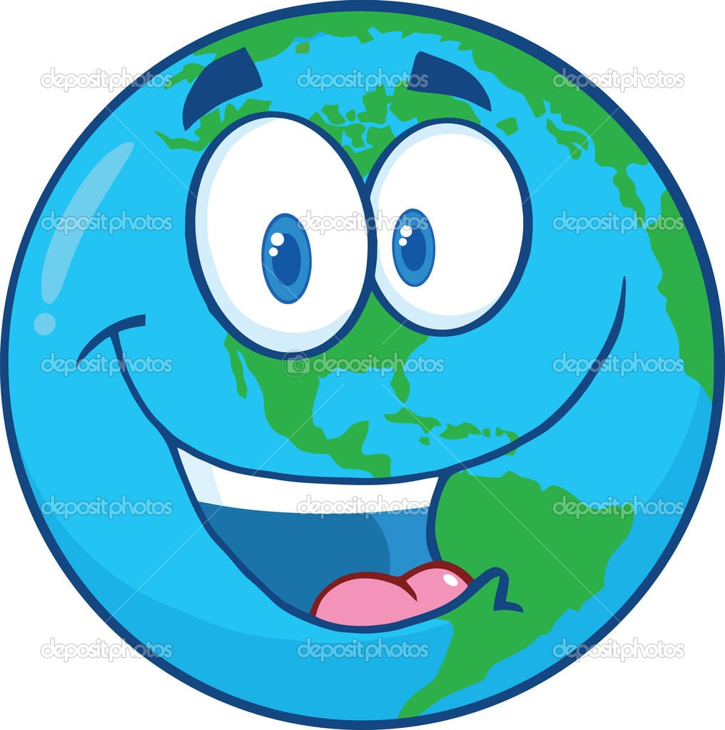 Personagem De Desenho Animado Da Terra Feliz — Fotografias De
