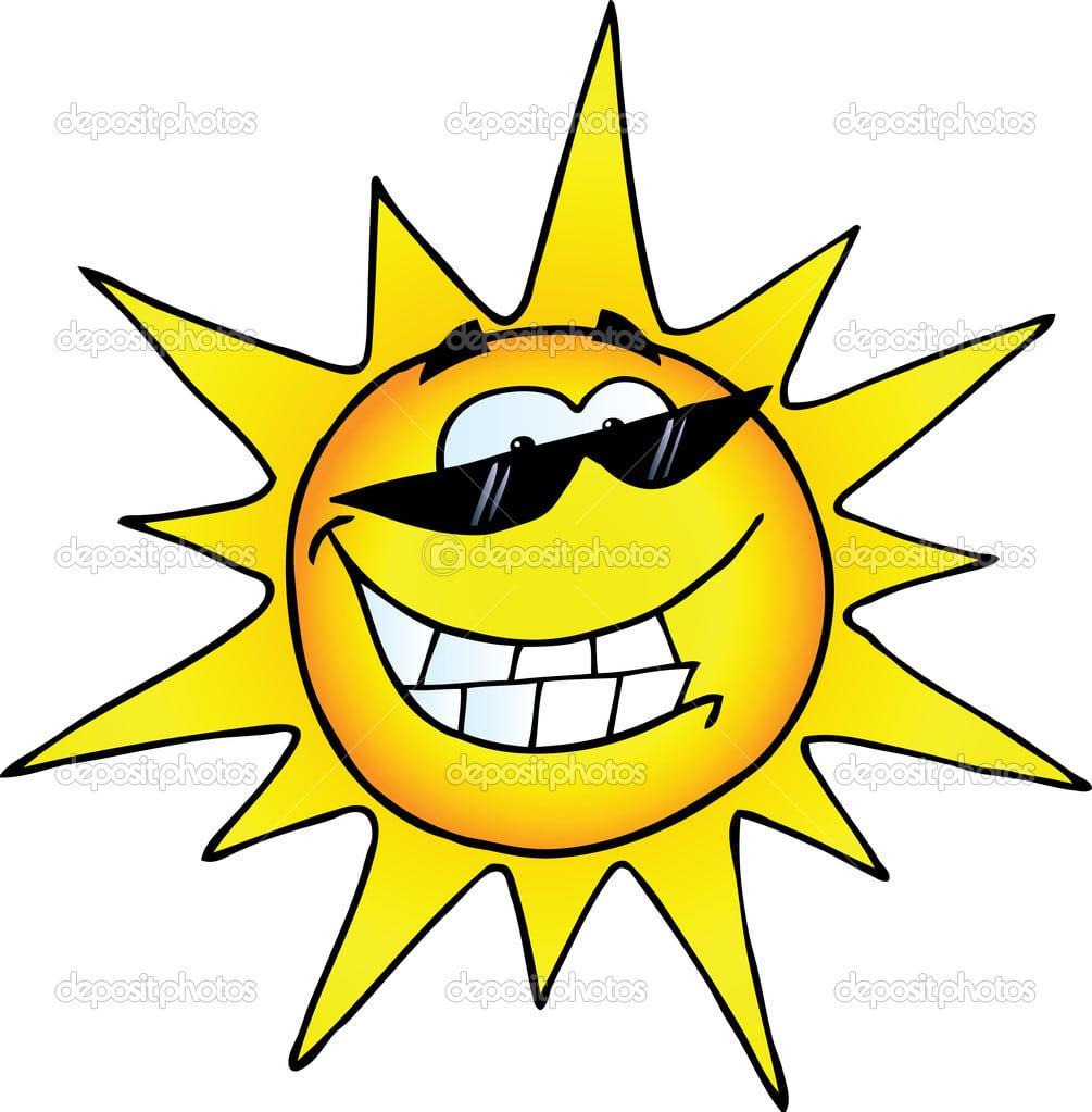 Personagem De Desenho De Sol Sorridente — Fotografias De Stock