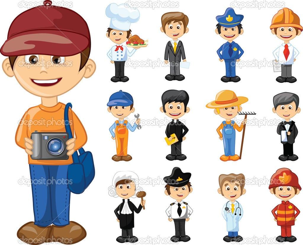Personagens De Desenhos Animados De Diferentes Profissões — Vetor