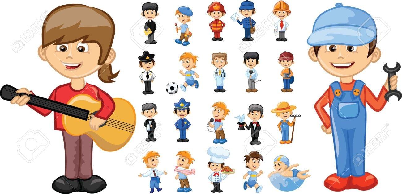 Personagens De Desenhos Animados De Diferentes Profissões Royalty