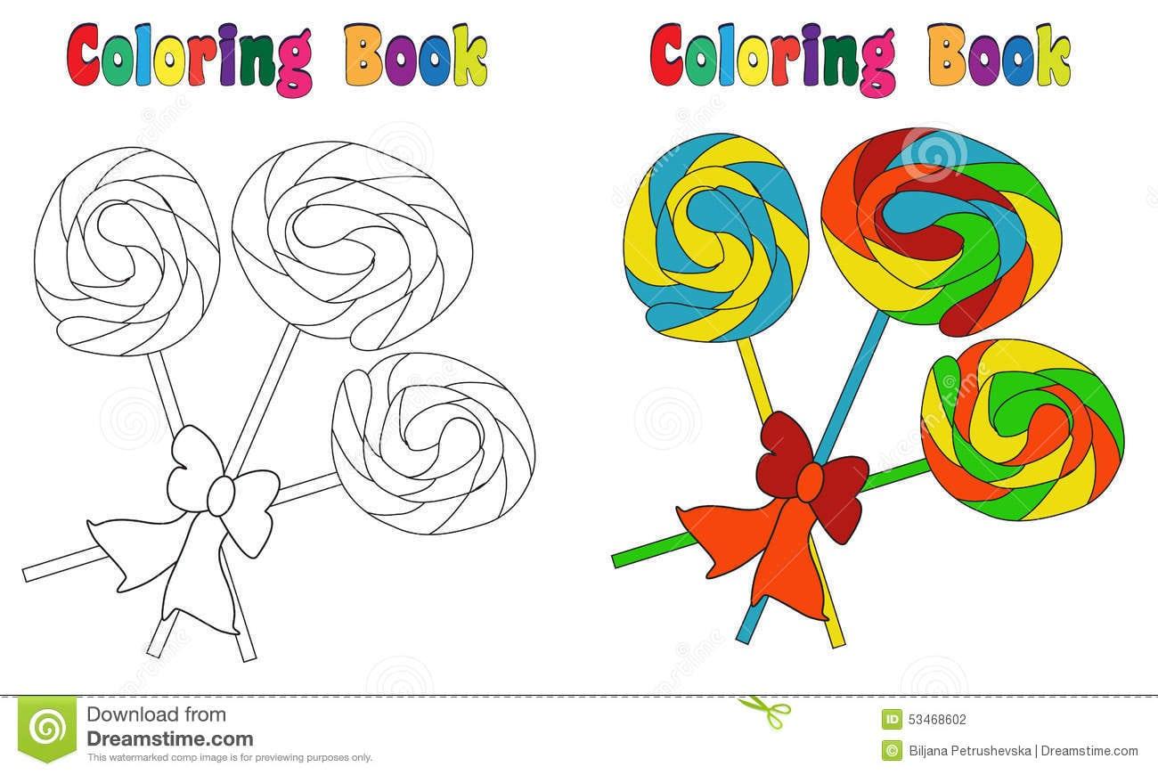 Pirulito Do Livro Para Colorir Ilustração Do Vetor