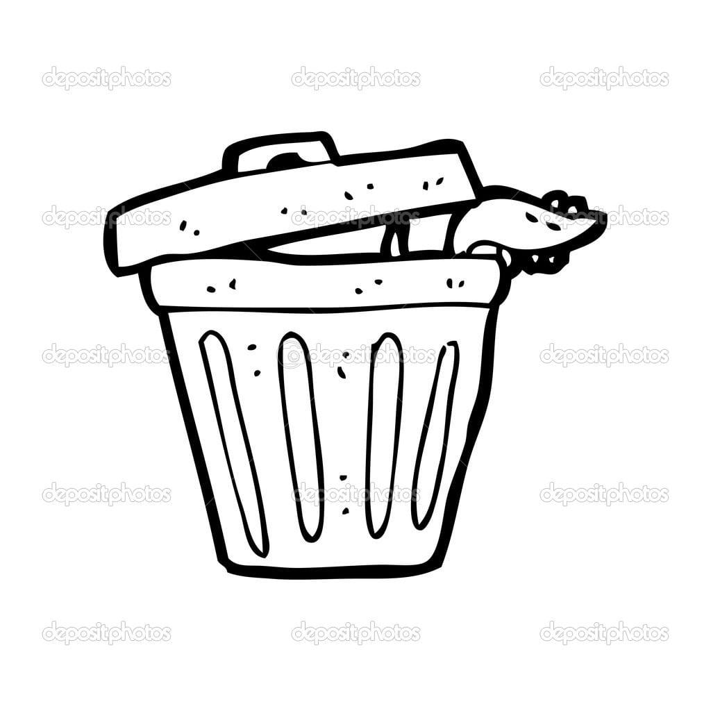 Rato No Lixo Pode Dos Desenhos Animados — Vetor De Stock