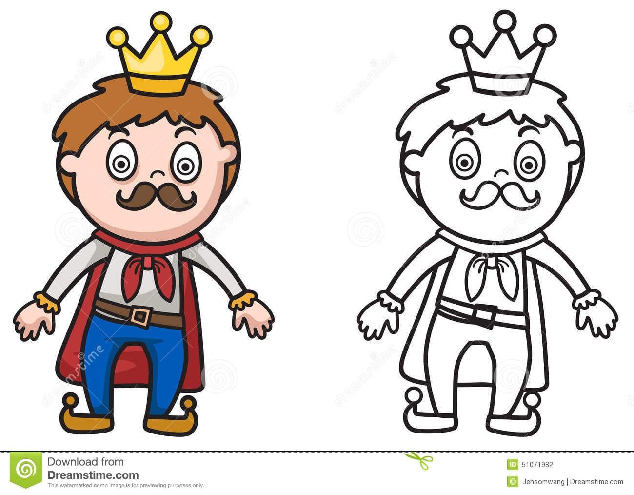 Rei Colorido E Preto E Branco Para O Livro Para Colorir Ilustração