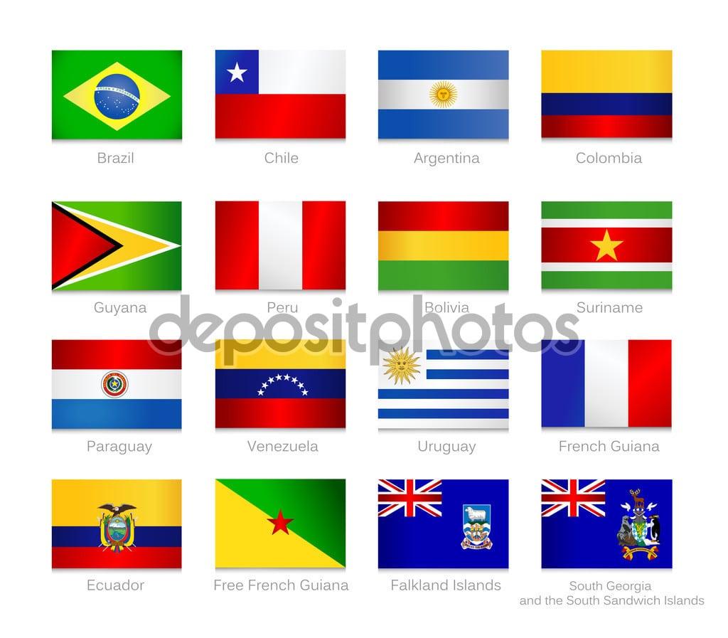 South America Flags Set — Stock Vector © Livenart  72751387