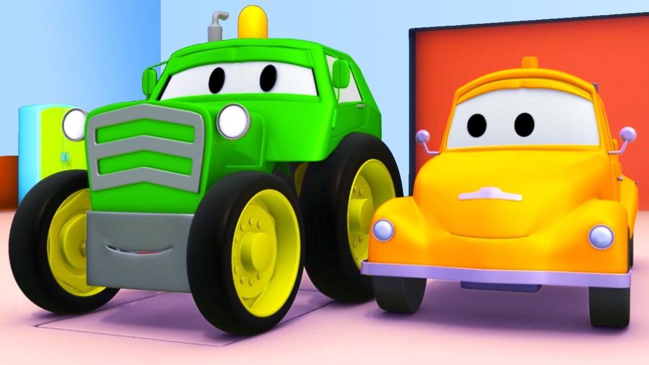 Tom O Caminhão De Reboque E O Trator Na Cidade Do Carro