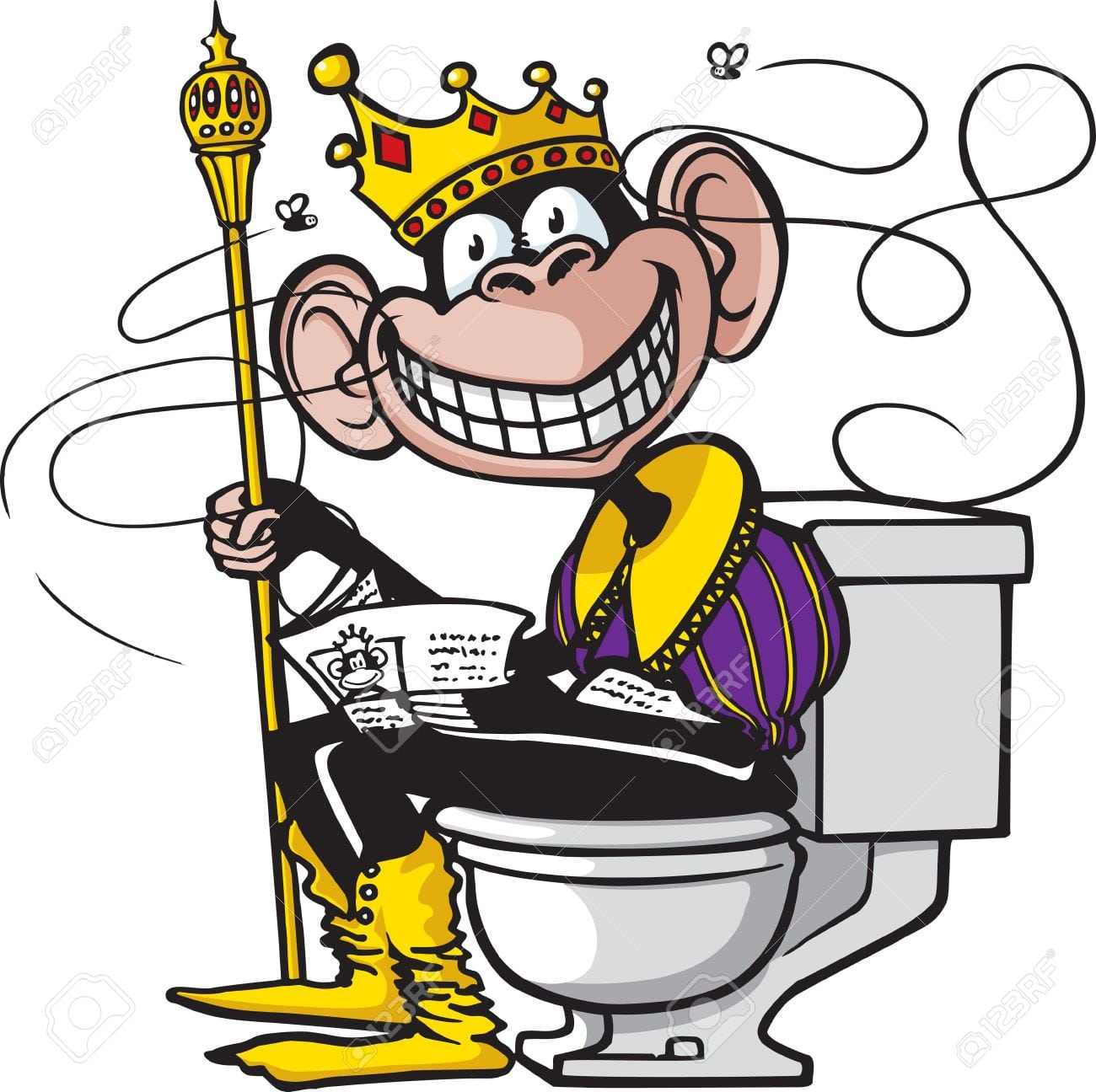 Uns Desenhos Animados De Um Chimpanzé Sentado Em Um Vaso Sanitário