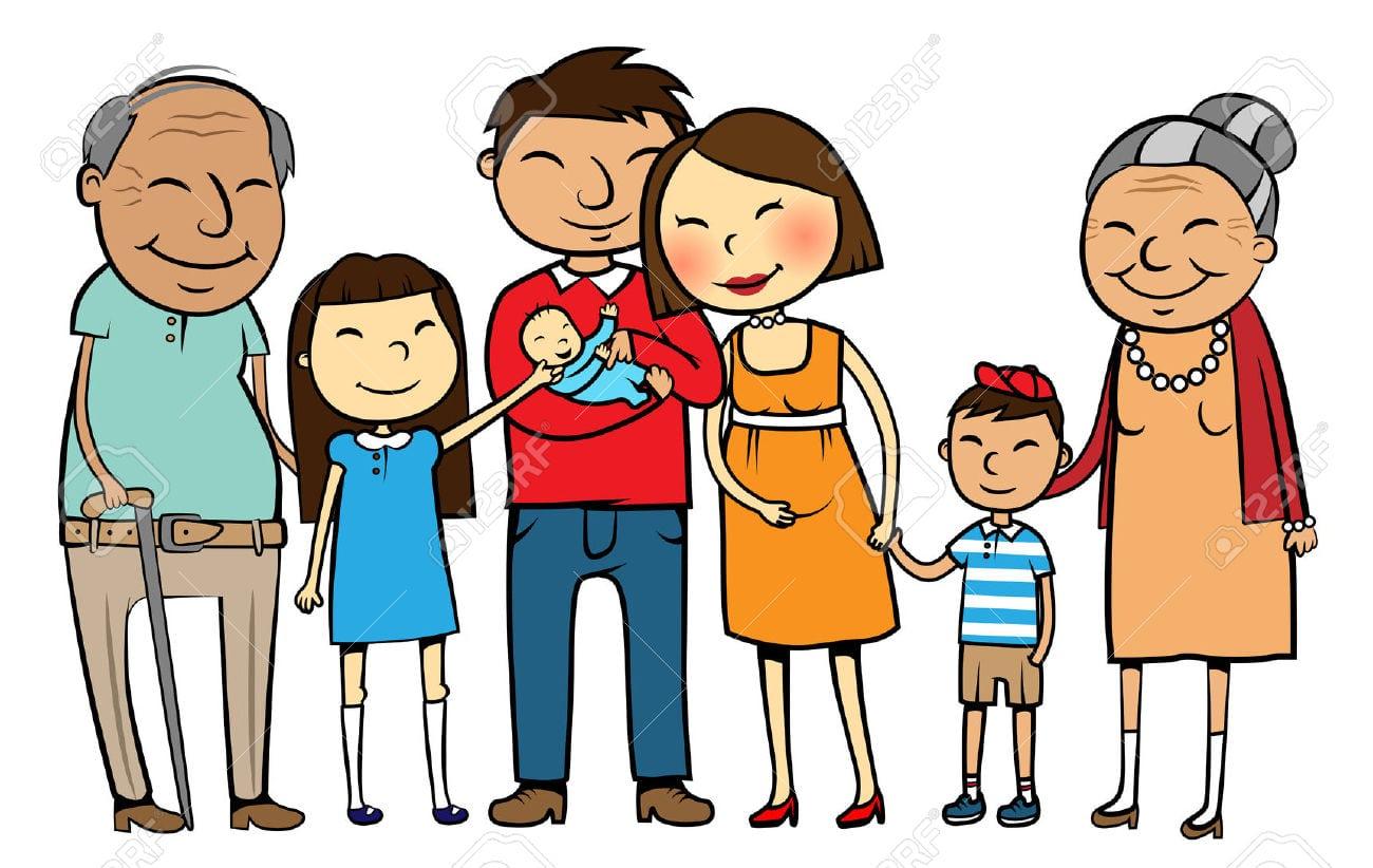 Vector A Ilustração Dos Desenhos Animados De Uma Grande Família