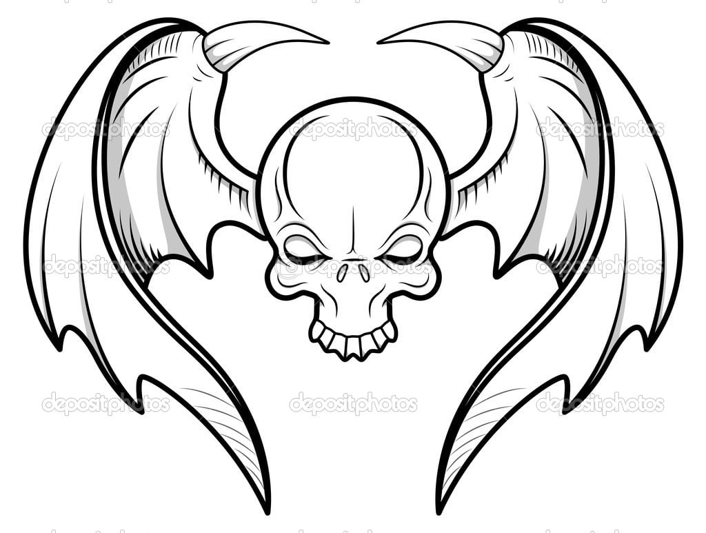 Vetor De Tatuagem Caveira Voadora — Vetor De Stock © Baavli  27811343