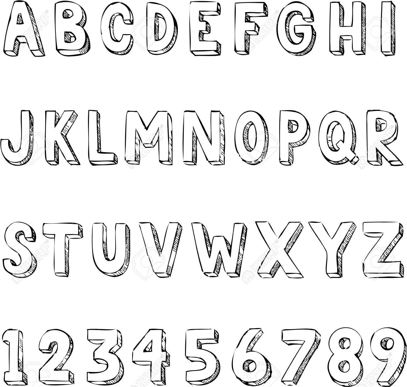 Desenho Tipografia Alfabeto Na Moda Com Letras E Números Royalty