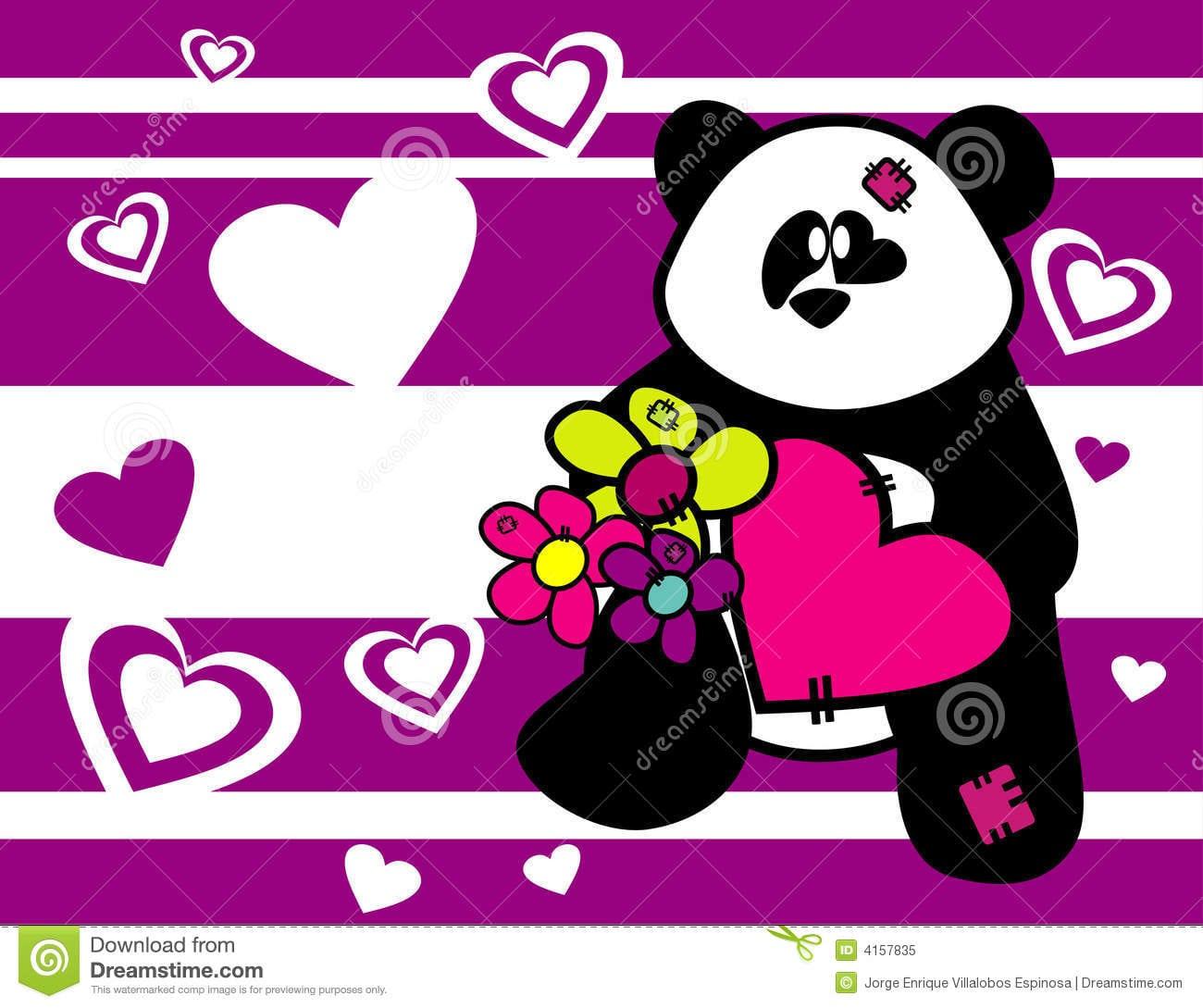 Animais Do Urso Dos Desenhos Animados No Amor Foto De Stock