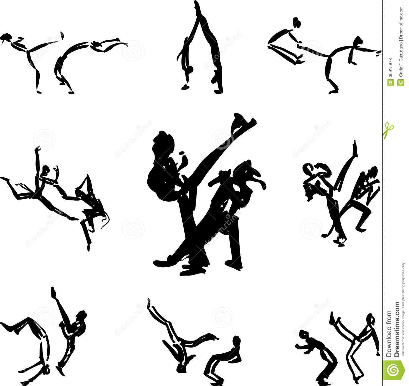 Capoeira Fighters Vector Royalty Free Stock Photos