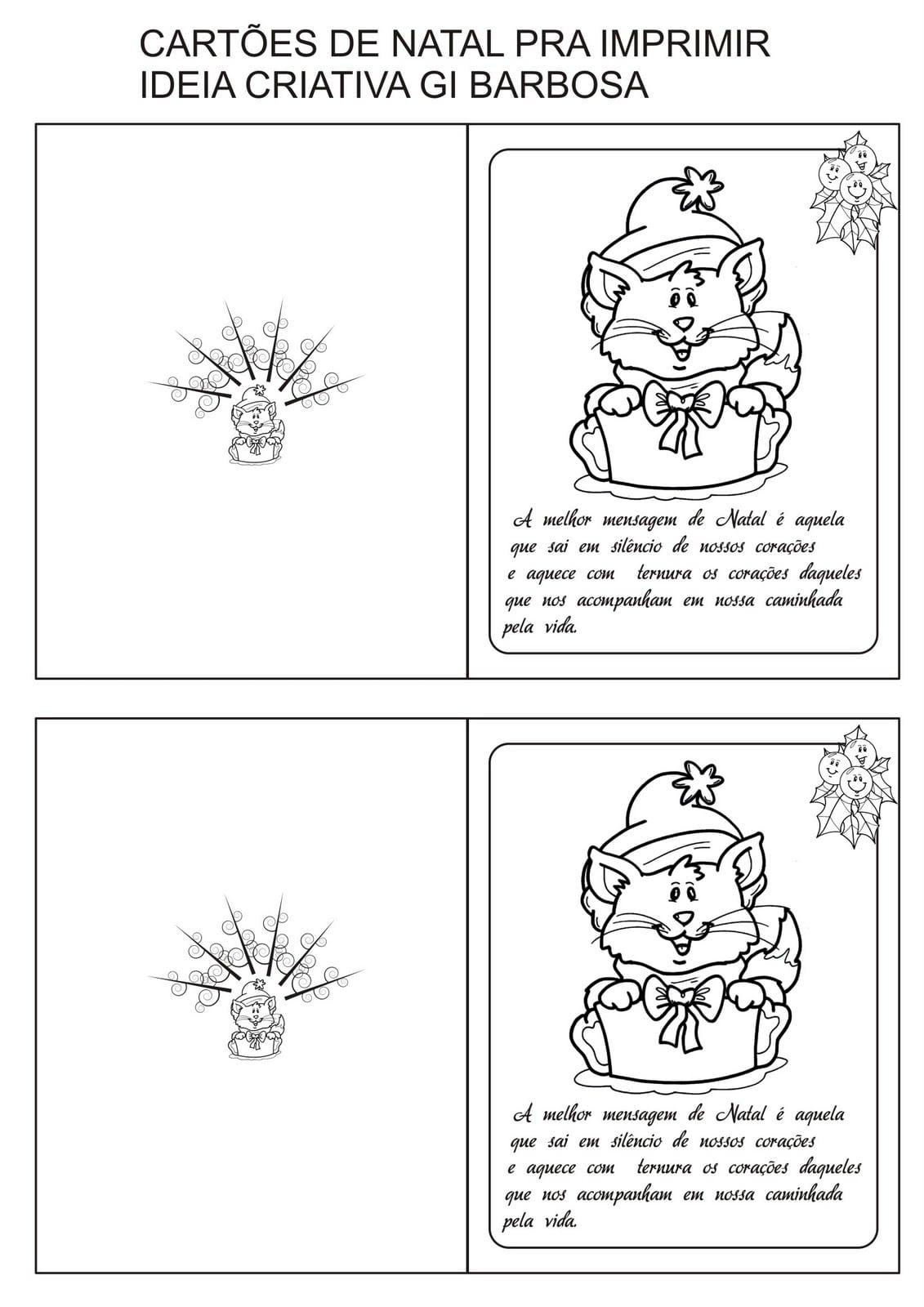 Cartões De Natal Com Frase Pra Colorir E Imprimir