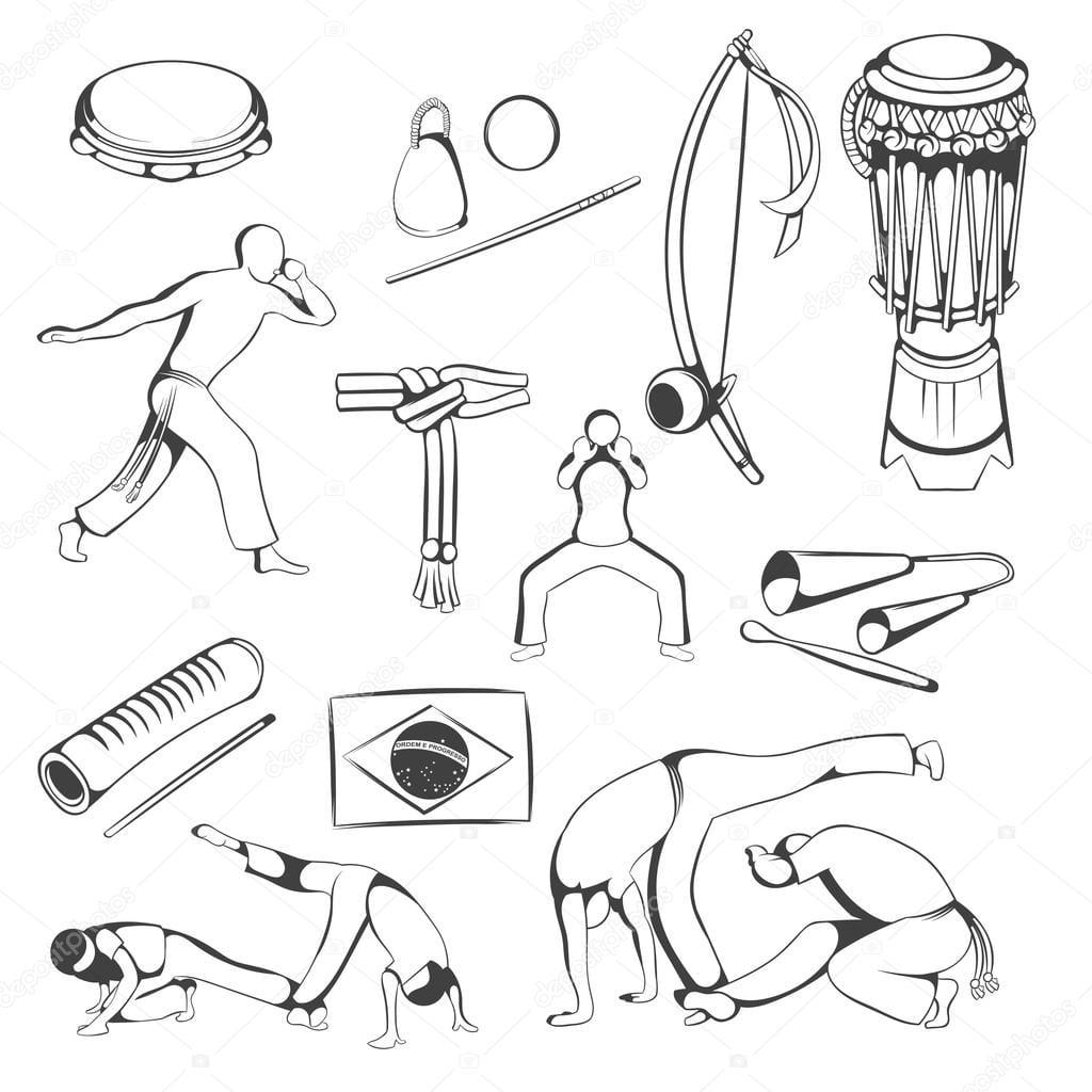 Conjunto De Elementos De Capoeira Desenho Mão — Stock Photo