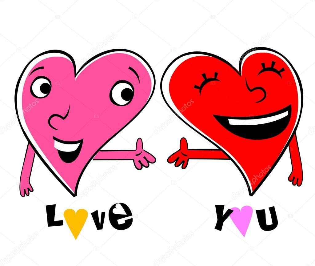 Dois Corações De Desenhos Animados De Amor — Vetor De Stock