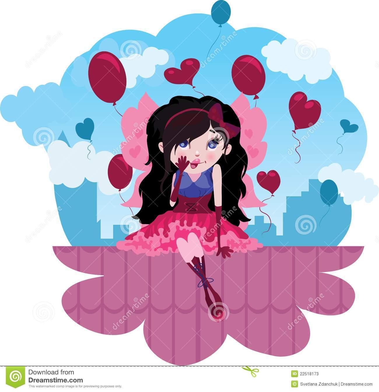Vetor Feericamente Dos Desenhos Animados Do Amor Bonito Fotos De