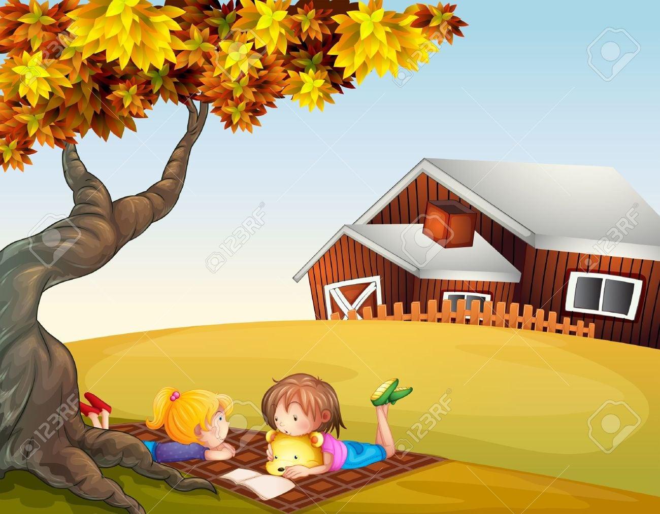 Ilustração De Crianças Lendo Debaixo De Uma Grande árvore Royalty