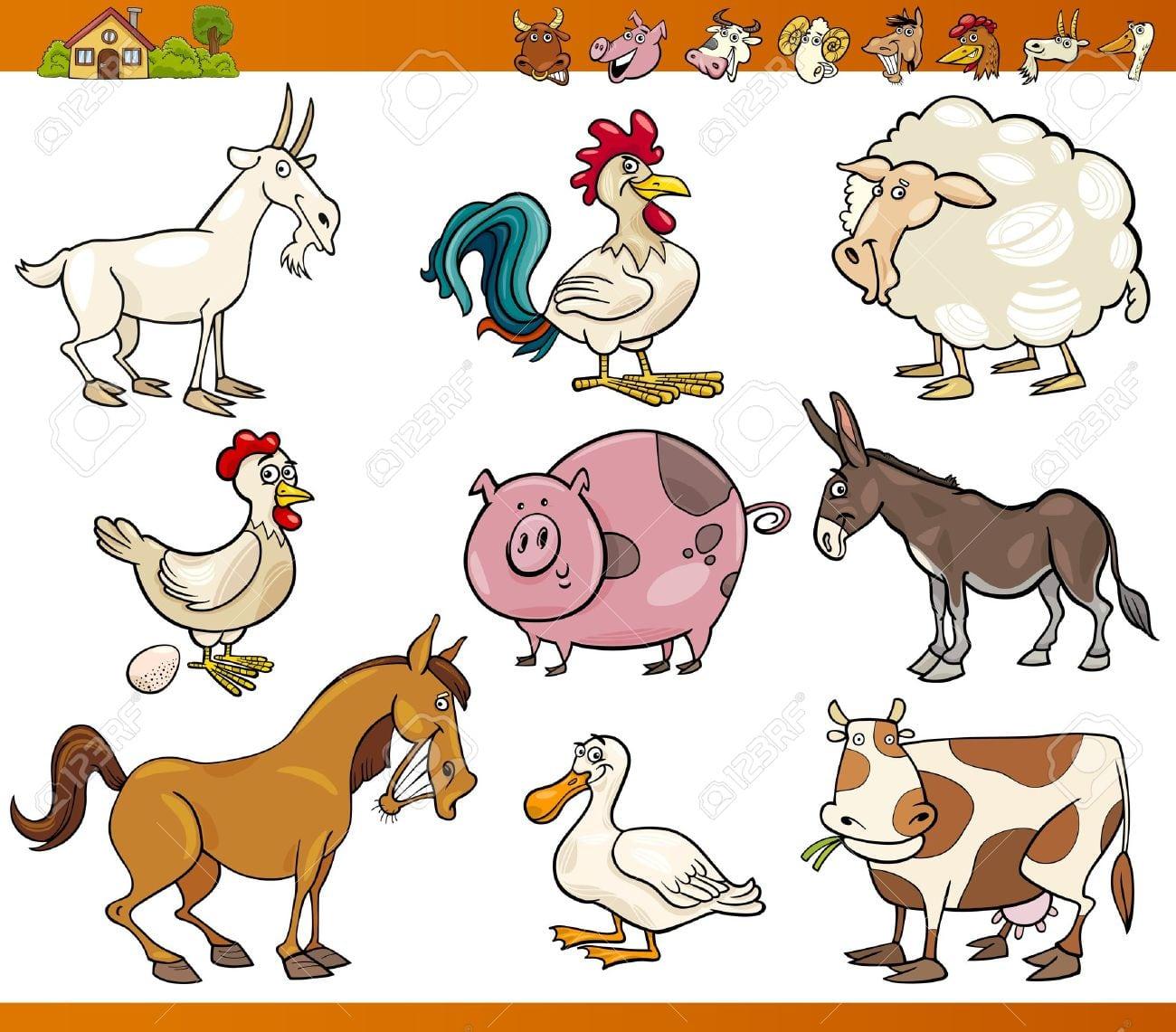 Ilustração Dos Desenhos Animados Conjunto De Fazenda Alegre E