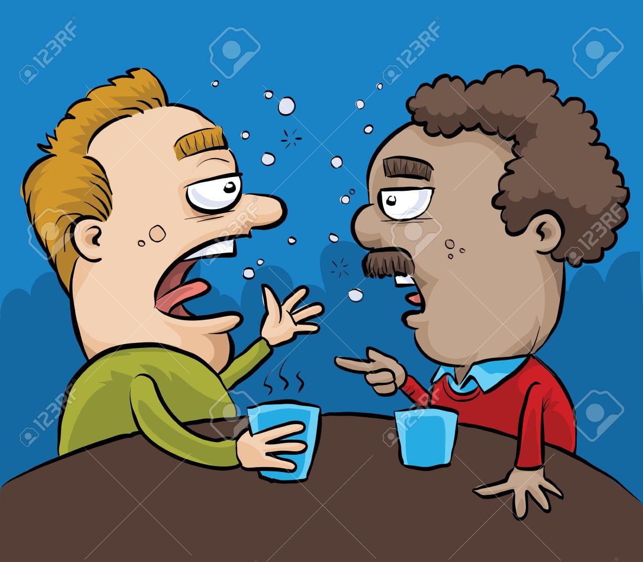 Dois Homens Embriagados Desenhos Animados Ter Uma Conversa Em Um