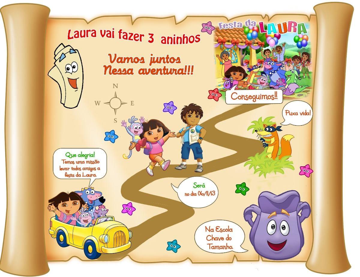 Convite Mapa Da Dora Aventureira