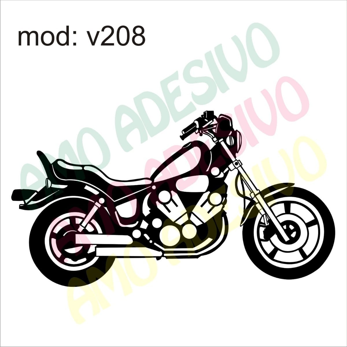 Adesivo V208 Moto Desenho Abstrato Decorativo Parede