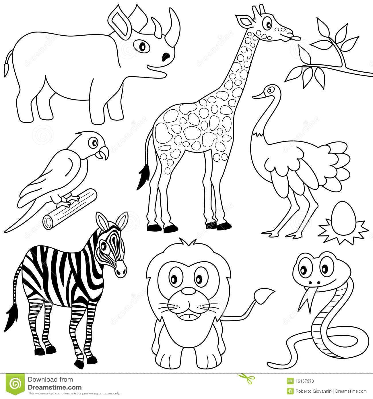 Animais Africanos Colorindo [1] Foto De Stock