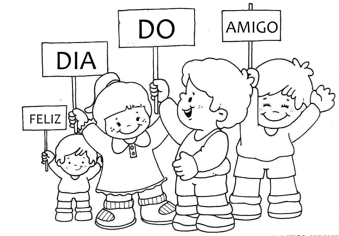 Blog Professor Zezinho   Desenhos Do Dia Do Amigo Para Colorir