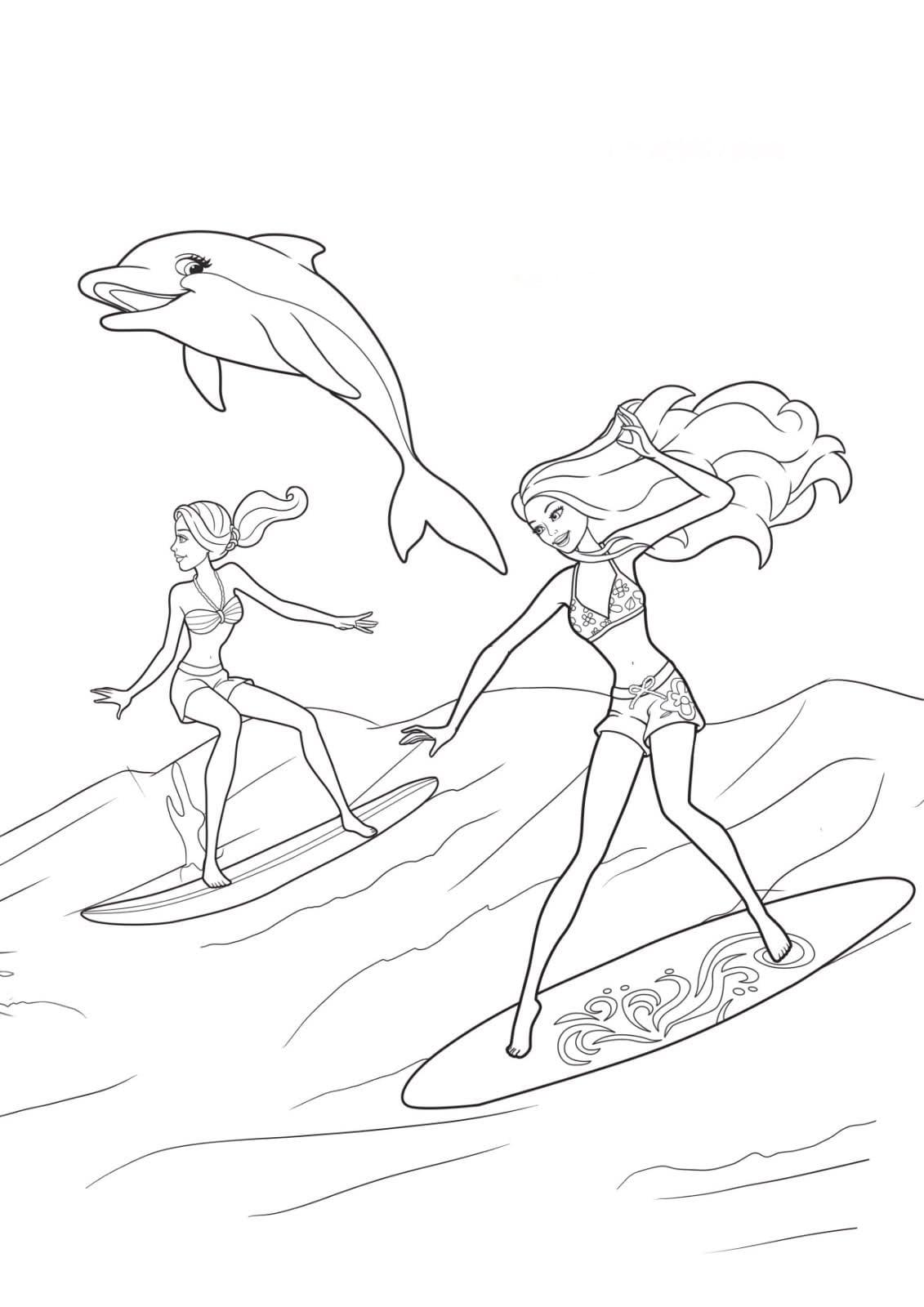 Desenho De Barbie Sereia E Prancha De Surfe Para Colorir