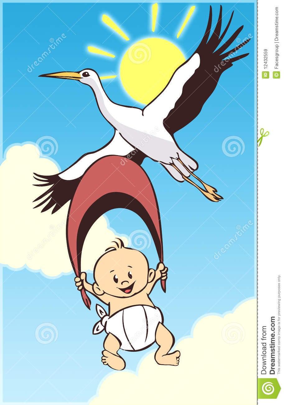 Bebê E Cegonha Dos Desenhos Animados Imagens De Stock Royalty Free