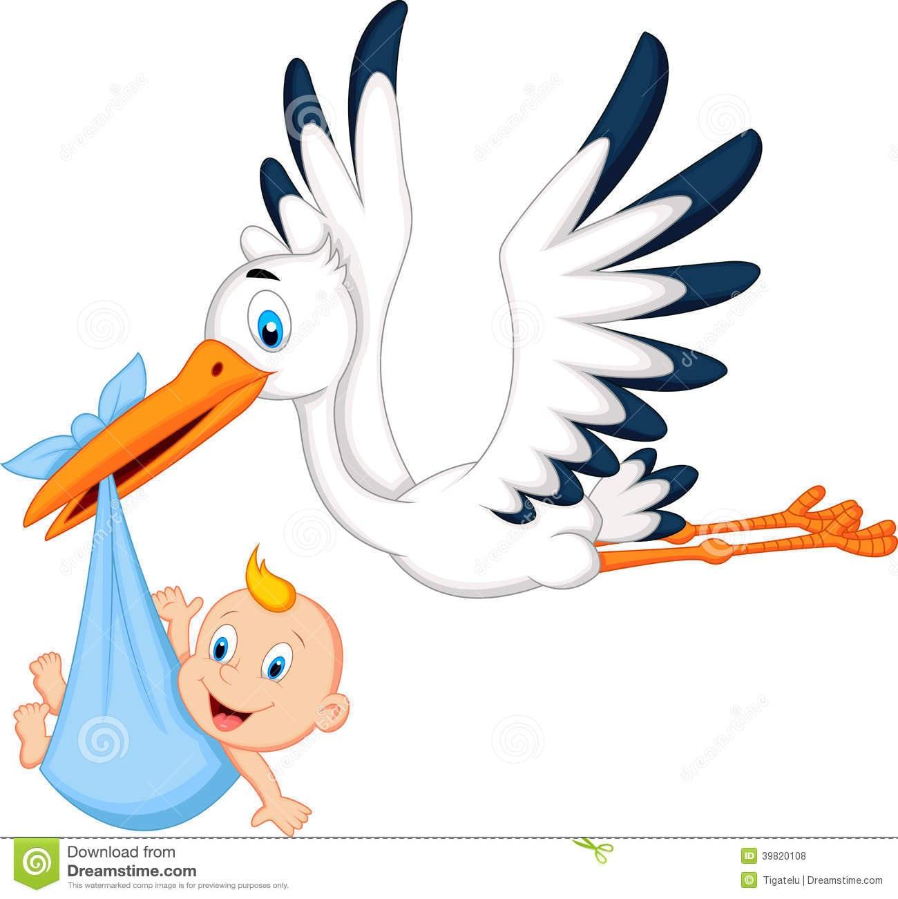 Bebê Levando Da Cegonha Dos Desenhos Animados Ilustração Do Vetor