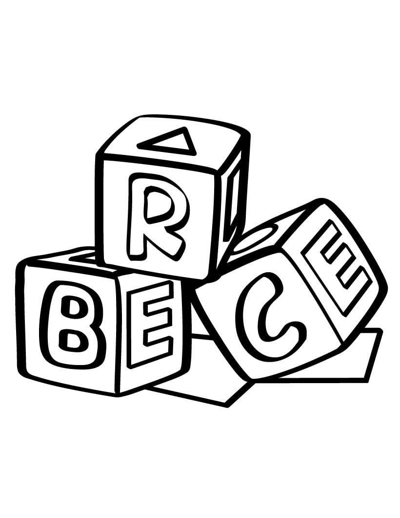 Desenho De Blocos Abc Para Colorir