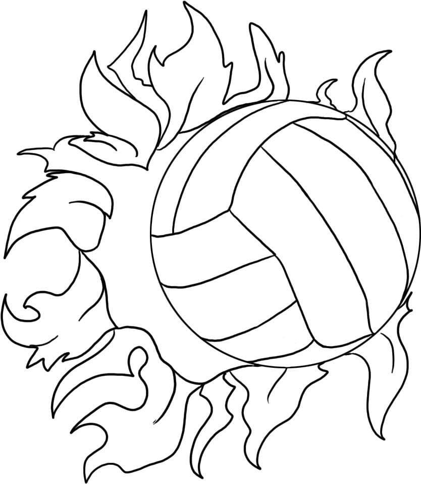Desenho De Bola De Vôlei E Fogo Para Colorir