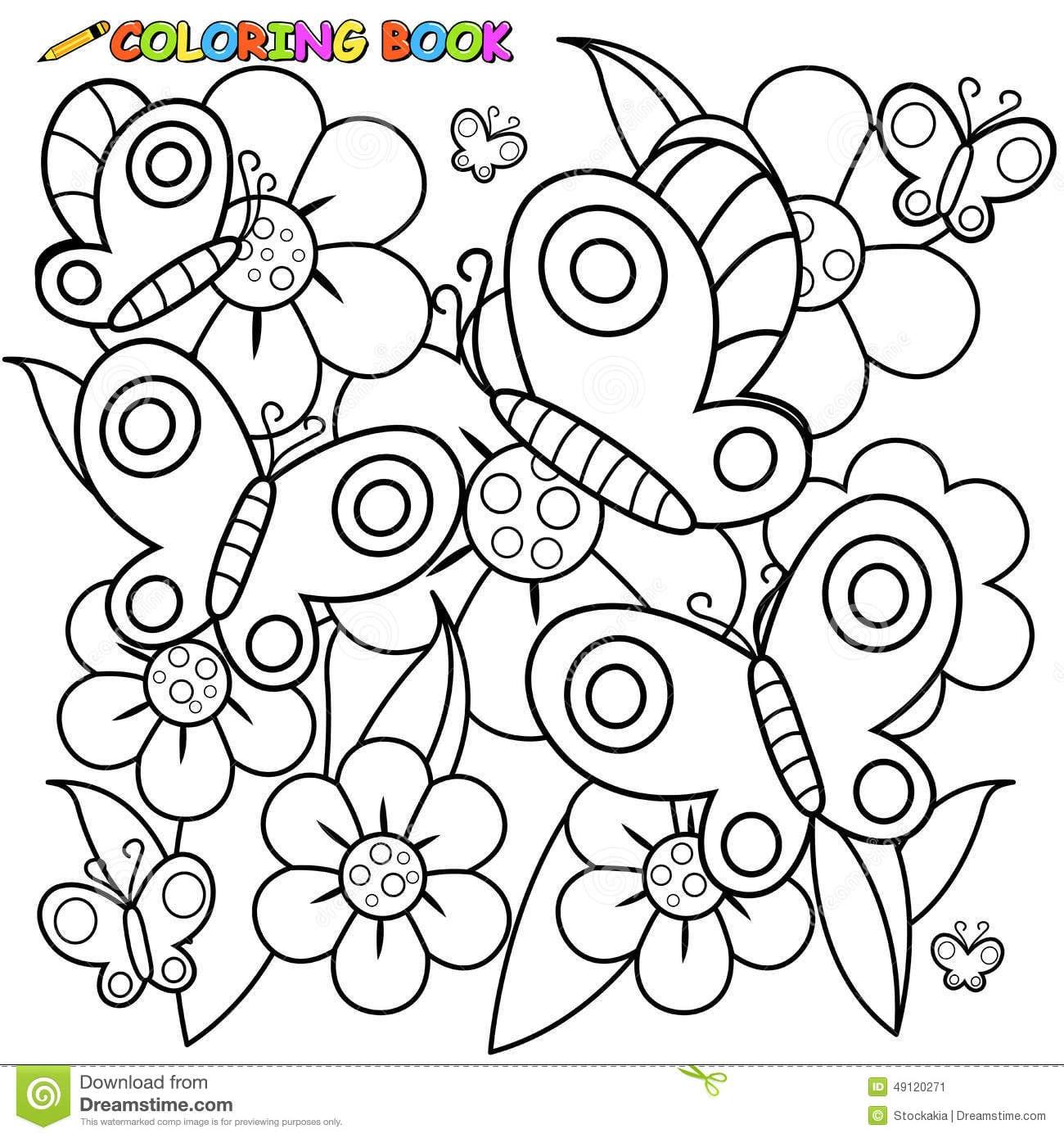 Borboletas E Flores Da Página Do Livro Para Colorir Ilustração Do