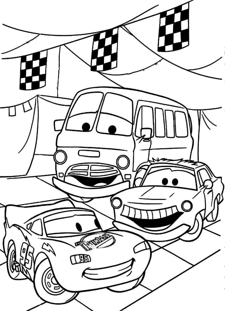 Desenho De Carros Do Filme Da Disney Para Colorir