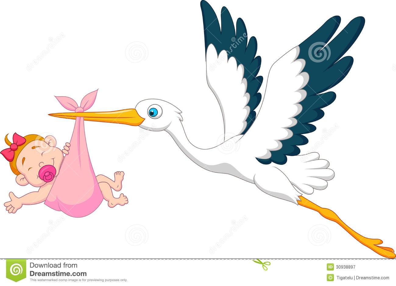 Cegonha Com Desenhos Animados Do Bebê Fotografia De Stock Royalty